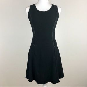 Monteau Black Skater Dress with Faux Leather Trim